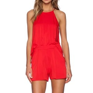 Black Halo Naomi Romper in Lipstick Red Pink